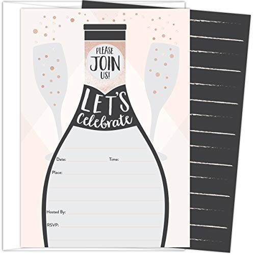 Koko Paper Co Champagne Invitations. Set of 25 Fill-in Style Cards and White Envelopes. Perfect for Birthday, Baby Shower, Bachelorette Parties, Bridal Showers, New Year's Eve or Other Occasions.