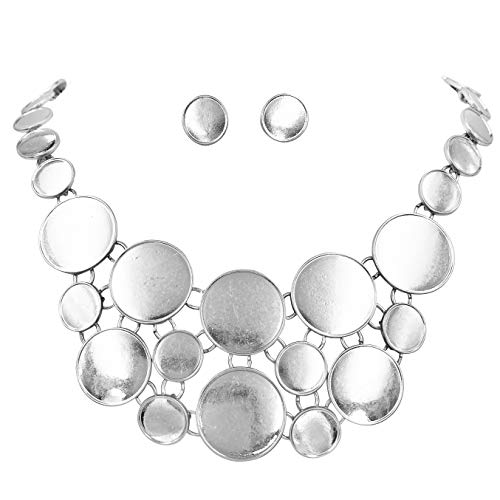Gypsy Jewels Abstract Cluster Bib Statement Boutique Necklace & Earrings Set (Dot Cluster Worn Silver Tone) ()