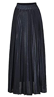 Amormio Women's Glittery Gold/Silver High-Waist Metallic Accordion Pleated Formal Party Maxi Skirt