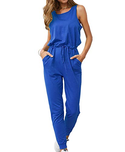 (KIRUNDO Women's 2019 Summer Solid Casual Sleeveless Drawstring Waist Long Pants Rompers Jumpsuits with Pockets (Large, Blue))
