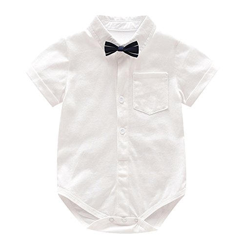 Ding-dong Baby Boy Summer Cotton Gentleman Short Sleeve Bowtie Romper+Striped Suspenders Shorts Outfit Set£¨3-6M£ by Ding Dong (Image #3)