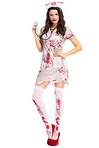 COSMOVIE Horror Halloween Costumes for Women Bloody Nurse