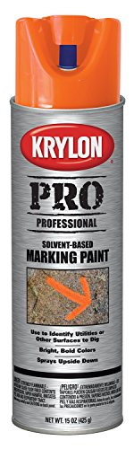 Krylon K07306007 Solvent-Based Contractor Marking Spray Paint, APWA Bright Orange, 15 Ounce ()