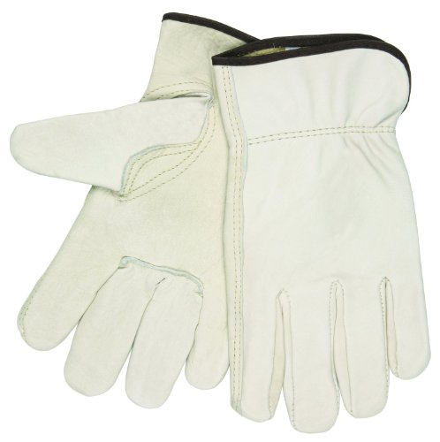 MCR Safety 3211XXXL Grain Cow Full Leather Driver Select Grade Men's Gloves with Keystone Thumb and Brown Cotton Hemmed, Cream, 3X-Large, 1-Pair