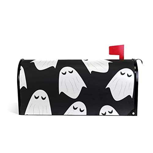 Friendly PVC Magnetic Mailbox Cover,Ghost Halloween Pattern Mail Box Makeover Waterproof Anti Sunburn Decor Standard Size