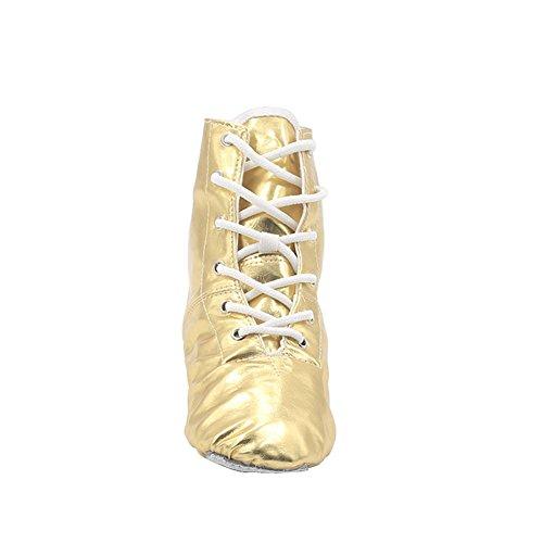 MSMAX PU Damen Jazz Dance Boots Silber / Gold Gold