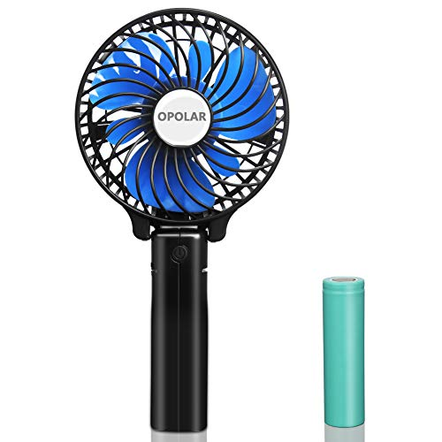 OPOLAR Small Hand Held Battery Operated USB Fan, Personal Portable Rechargeable Fan with 2200mAh Battery and 3 Settings for Travel Home Office and Outdoor Use (One Battery ONLY)