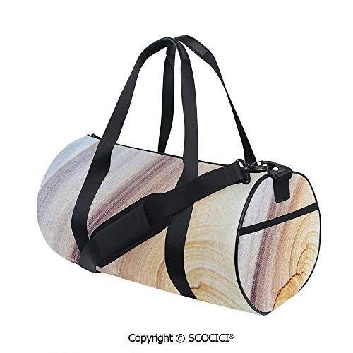 - Unisex Cylinder Sports Bag,Sandstone Rock Facet Pattern in Gradient Tones Artistic Marbling Image DecorativeEasy to Carry,(17.6 x 9 x 9 in) Light Coffee Brown Beige