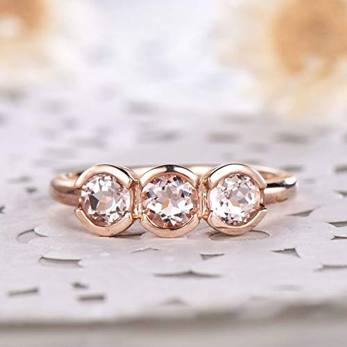 Amazon Com Finemall 14k Rose Gold Round White Sapphire Accross