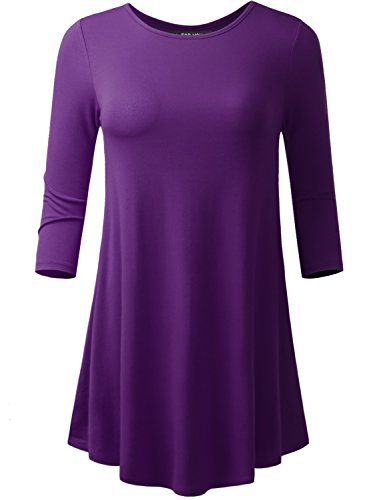 A.F.Y All For You Women's 3/4 Sleeve Round Neck Flare Hem Tunic Purple Small -