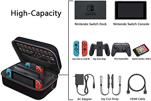 41pOE6m8OPL - Carrying Storage Case for Nintendo Switch, iVoler PortableTravel All Protective Hard Messenger Bag Soft Lining 18 Games for Switch Console Pro Controller & Accessories Black
