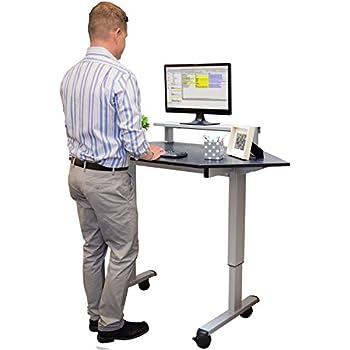 Standing Corner Desk, Sit To Stand Crank Adjustable Height Desk