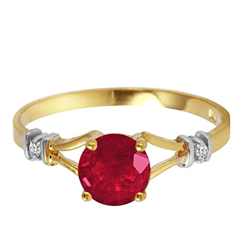 (Galaxy Gold 1.02 CTW 14k Solid Gold Ring with Natural Ruby and Diamonds - Size)