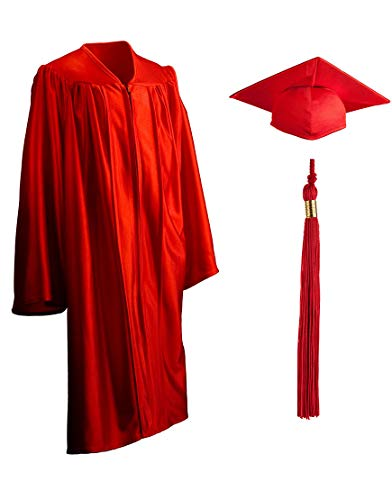 Child Shiny Graduation Gown, Cap and Tassel Set - Graduation Robe For Kindergarten, Pre-K and Daycare, Red - 30]()