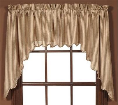 VHC Cheston Set of Two Lined Swag Scalloped Valances 36