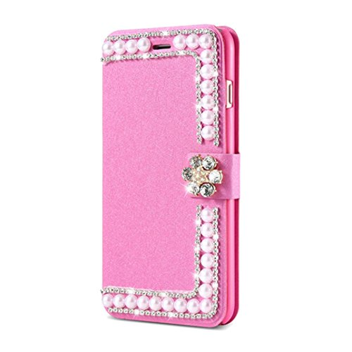 Price comparison product image Elaco Women Iphone Case For iPhone 6/6s 4.7 inch /For iPhone 6 Plus 5.5inch/ iPhone 7 4.7inch/iPhone 7 Plus 5.5inch Wallet Card Magnetic Case Cover (Hot Pink, iPhone 7 Plus 5.5inch)