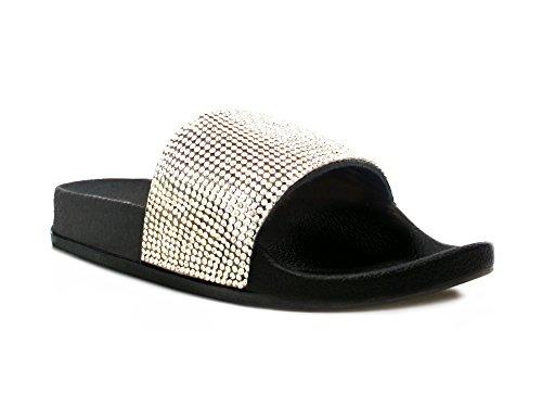 Womens Ladies Bow Floral Diamante Faux Fur Pom Pom Wide Strap Thick Comfy Sponge Platform Sole Slip On Slider Sandals Shoe Sizes 3-8 UK Black Diamante aI1X39N