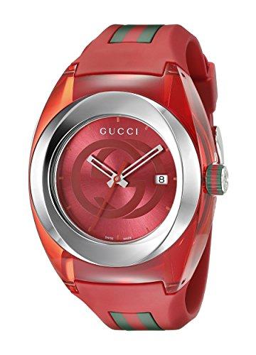 Amazon.com  Gucci SYNC XXL Red Rubber Strap 46mm Unisex Watch YA137103   Watches 414fa9f481d