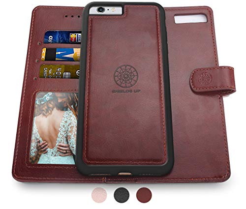 Shields Up iPhone 6S Plus Case/iPhone 6 Plus Case,[Detachable] Magnetic Wallet Case,Durable and Slim,Lightweight with Card/Cash Slots,[Vegan Leather] Cover for Apple iPhone 6S Plus/6 Plus -Brown
