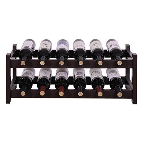 (VASAGLE ULWR02BR 12 Wooden Wine Rack, 2-Tier Tabletop Bottles Storage Shelf, Espresso)