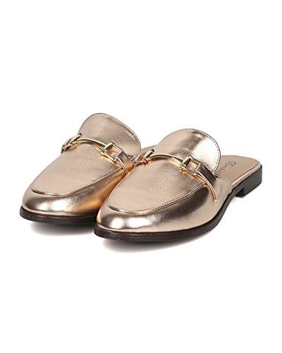 Breckelles Women Slip On Mule - Casual, Office, Trendy - Loafer Slide - Gh11 By Champagne