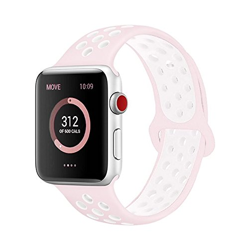 - AdMaster for Apple Watch Bands 38mm,Soft Silicone Replacement Wristband for iWatch Apple Watch Series 1/2/3 - S/M Barely Rose/Pearl Pink