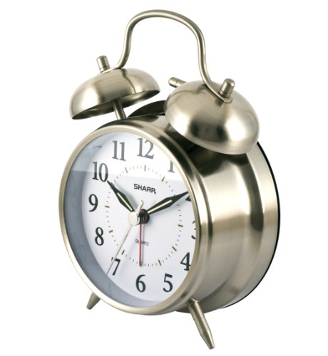 41pOF8VFAwL - Sharp SPC800 Quartz Analog Twin Bell Alarm Clock (Silver)
