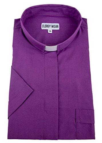 Mercy Robes Women's Short Sleeve Tab Collar Clergy Shirt (14, Church Purple) by Mercy Robes