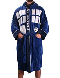 Dr. Who Tardis Unisex Cotton Terry Cloth Bath Robe, Blue, One Size