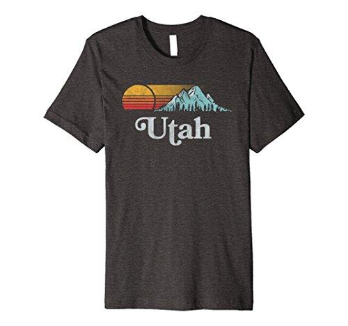 Mens Retro Utah Mountain T Shirt   Vintage Eighties Style Vibe 2Xl Dark Heather
