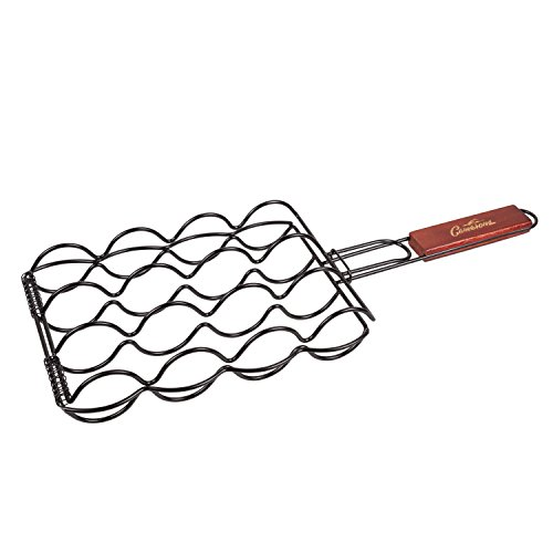 "Camerons Products Corn Grilling Basket - Non-Stick Corn Griller with 9"" Rosewood Handle - Cooks 4 Ears of Corn"