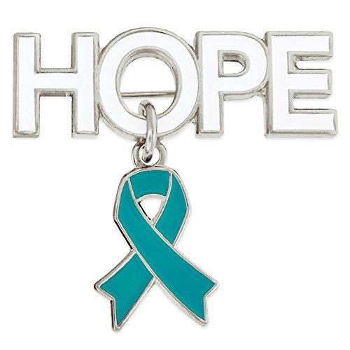 (PinMart Hope with Teal Awareness Ribbon Charm Enamel Brooch Pin)