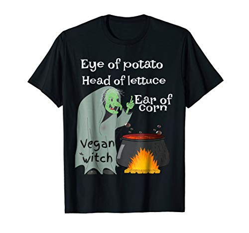Funny Vegan Witch Tee Vegetarian Witch Costume Plant