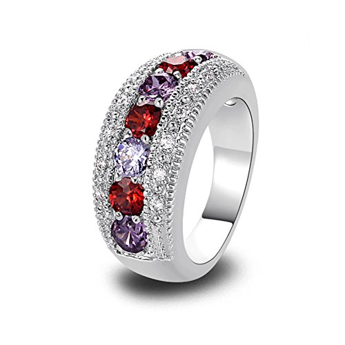 PAKULA Women's Fashion Garnet & Amethyst Wedding Engagement Stacking Cocktail Ring ()