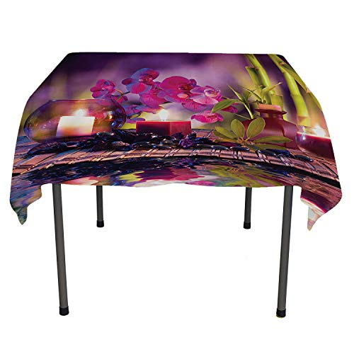 (Spa Decor Collection Table Cloths Spill Proof Violet Composition Candles Oil Orchids and Bamboo on Water Natural Leaves Picture Print Coloring Table Cloths Spring/Summer/Party/Picnic 50 by 80)