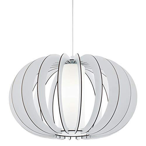 EGLO Stellato 2 Hanglamp, vintage hanglamp met 1 lichtpunt, hanglamp van staal, hout en glas in wit, eettafellamp…