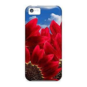 Awesome CKWgTeo3232iHKTl Johnmarkpl Defender Tpu Hard Case Cover For Iphone 5c- Pure Red Sunflowers