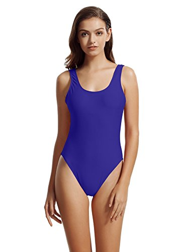 zeraca Women's Fashion Sexy High Cut One Piece Swimsuits Monokini (L14, Smouldering Navy) (Coverage Back Moderate)