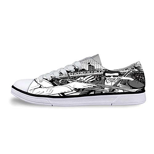 Jazz Music Decor Soft Low Top Canvas Shoes,Illustration of Jazz Band Playing The Blues in New York in The Moonlight Retro Decor for Women,US 6.5