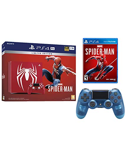 Playstation 4 Pro Marvel's Spider-Man Limited Edition Amazing Red 1TB Console with Extra Crystal Blue Dualshock Wireless Controller