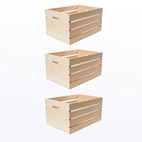 Unfinished Storage Crates Handles 3 Pack product image