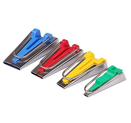 ilauke 4tlg. Schrägbandformer Kurzwaren Schrägband Werkzeug Edelstahl Nähen Zubehöre Tape Maker Set 4er-Set in 6mm 12mm 18mm 25mm