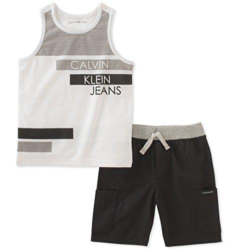 Calvin Klein Baby Boys 2 Pieces Tank Top Short Set, White/Black, 18M