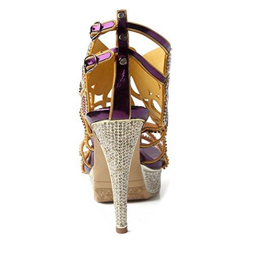Metà Con Party 35 uk Delle Cinturini A Signore Prom Basso Purple Diamante Eur Strass Donne Di Size Tacco Zpl 3 Le Sandali Fascia qpXw44