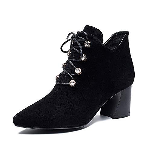 Color Eu Mujer Zhrui Cuero Zapatos Botas Negro Con Tamaño De gFxPaqf