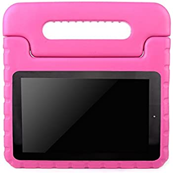 AVAWO Kids Case for Fire 7 2017 - Light Weight Shock Proof Handle Kid-Proof Case for Fire 7 inch Display Tablet (2015 & 2017 release), Magenta/Rose