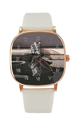 l Rose Custom Fashion Women Rose Gold Watch Japan Quartz Movement Sports Watches (Painting Cat and Tiger-6) (Tigers Ladies Sport Steel Watch)