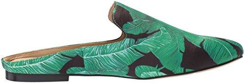 De Fix Dames Dalyah Gesloten Teen Slide Loafer Zwart Blad Palm Print Satijn