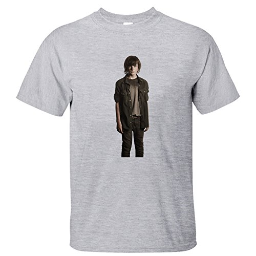 HANOO Men's Walking Dead Carl Grimes 100% Cotton T-Shirt grey L -