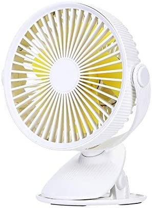 Portable Electric Fan Portable Mini //360 Degree Rotation//3-level Speed Mode//Clamp Dual-use Fan,for Air Cooler Color : White